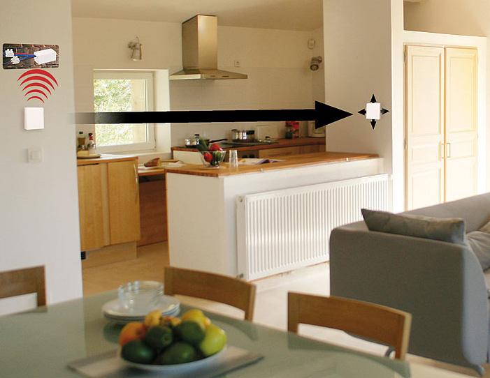 interrupteur mural sans fil sans pile r cepteur port e 40 m. Black Bedroom Furniture Sets. Home Design Ideas