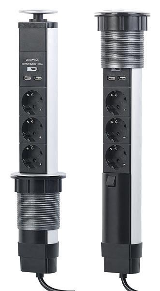 prise interm/édiaire avec variateur dintensit/é prise variateur pour lampes de table et de lampadaire avec prise 230 V Revolt Prise variable