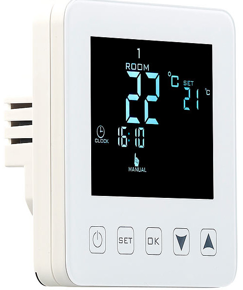 thermostat mural pour plancher chauffant lcd touches. Black Bedroom Furniture Sets. Home Design Ideas